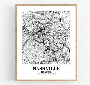 Eleville 8X10 Unframed Nashville Tennessee City View Abstract Road Modern Map Art Print Poster Wall Office Home Decor Minimalist Line Art Hometown Housewarming wgn417