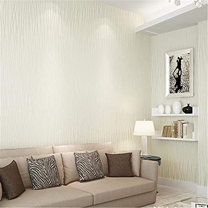 Simple Wall Paper Solid Color Stripes Textured Plain