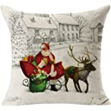 Gotd Merry Christmas Pillow Case Gifts under Christmas Tree Xmas 18 x 18 Cushion Cover Merry Chritmas Home Decor Design Throw Pillow Cover Pillow Case 18 x 18 Inch Cotton Linen for Sofa (Xmas Beige A)
