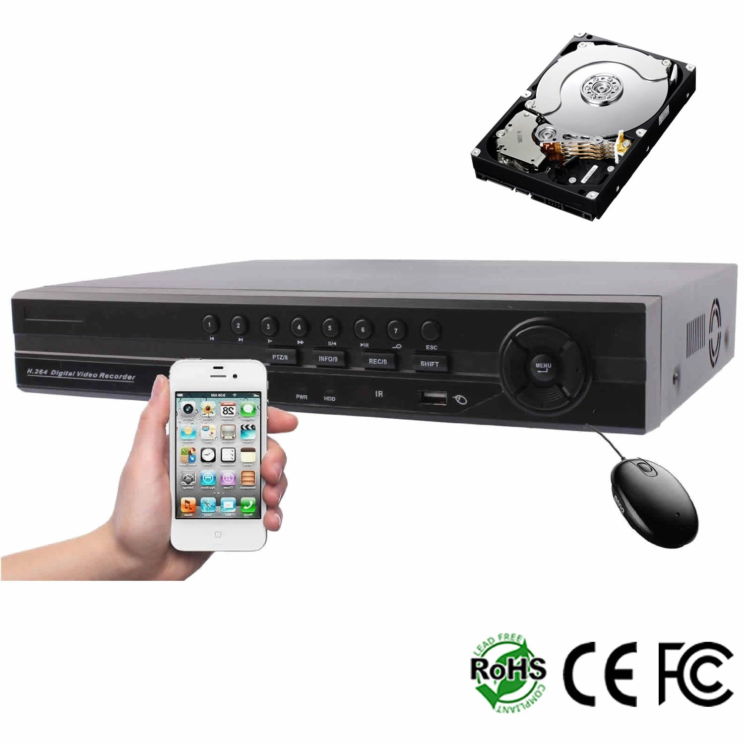 HDView (Business Series) 9CH 5-in-1 Security 1080P HD DVR/NVR: 8 Channel (TVI/AHD/CVI/960H) Cameras and 1 Channel ONVIF IP Cameras, 1TB HDD Installed, Surge Protection CoC Commercial Grade