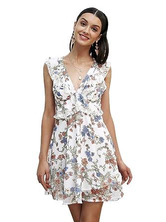 4dacb9b44 Simplee Women Sleeveless Floral Chiffon Casual Dress Sexy Short ...