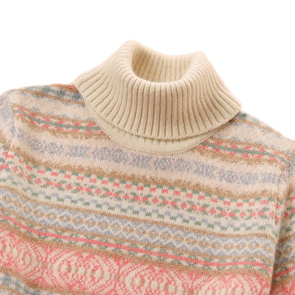 Only Faith Girls Pink Preppy Chic Jacquard Weaved Woolen Turtleneck Sweater