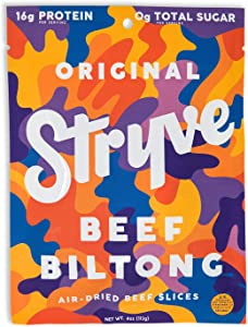 Stryve Biltong, Beef Jerky without the Junky. 16g Protein, Sugar Free, No Carbs, Gluten Free, No Nitrates, No MSG, No Preservatives. Keto and Paleo Friendly. Original, 4oz