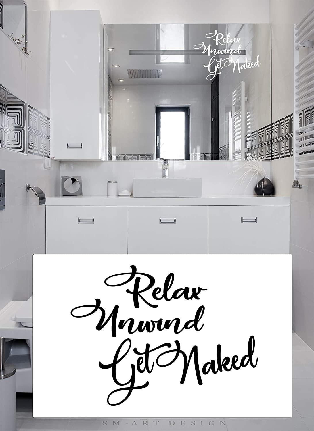 Relax unwind get naked bathroom decal bedroom wall art shower door decals mirror vinyl sticker hot tub sauna spa hotel room decor amazon ca