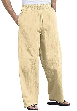 48620ea70d KingSize Men's Big & Tall Elastic Waist Gauze Cotton Pants at Amazon ...