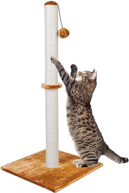 Dimaka - Poste rascador para gatos de 94 cm de alto, rascador de garras con cuerda de sisal y cubierta con suave felpa suave, arañazos verticales [Full Strectch]: Amazon.es: Productos para mascotas