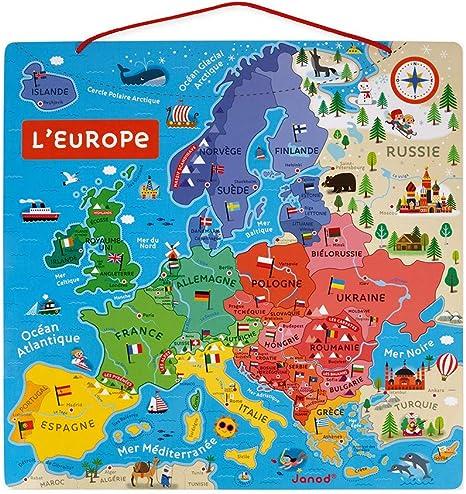 Juratoys-Janod Rompecabezas de Mapa magnético de Europa: Amazon.es: Juguetes y juegos