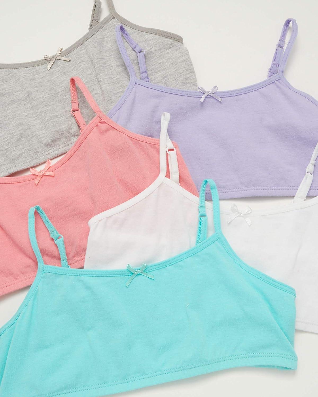 10 Pack Rene Rofe Girls Cotton Spandex Training Bra Bralettes with Adjustable Straps