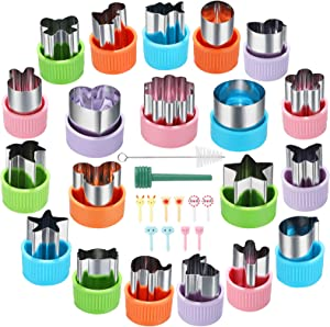 Vegetable Cutter Shapes Set, Mini Cookie Cutters Set, 20pcs, Mini Pie, Fruit and Cookie Stamps Mold with 10pcs Cute Food Picks for Kids Baking and Food Supplement