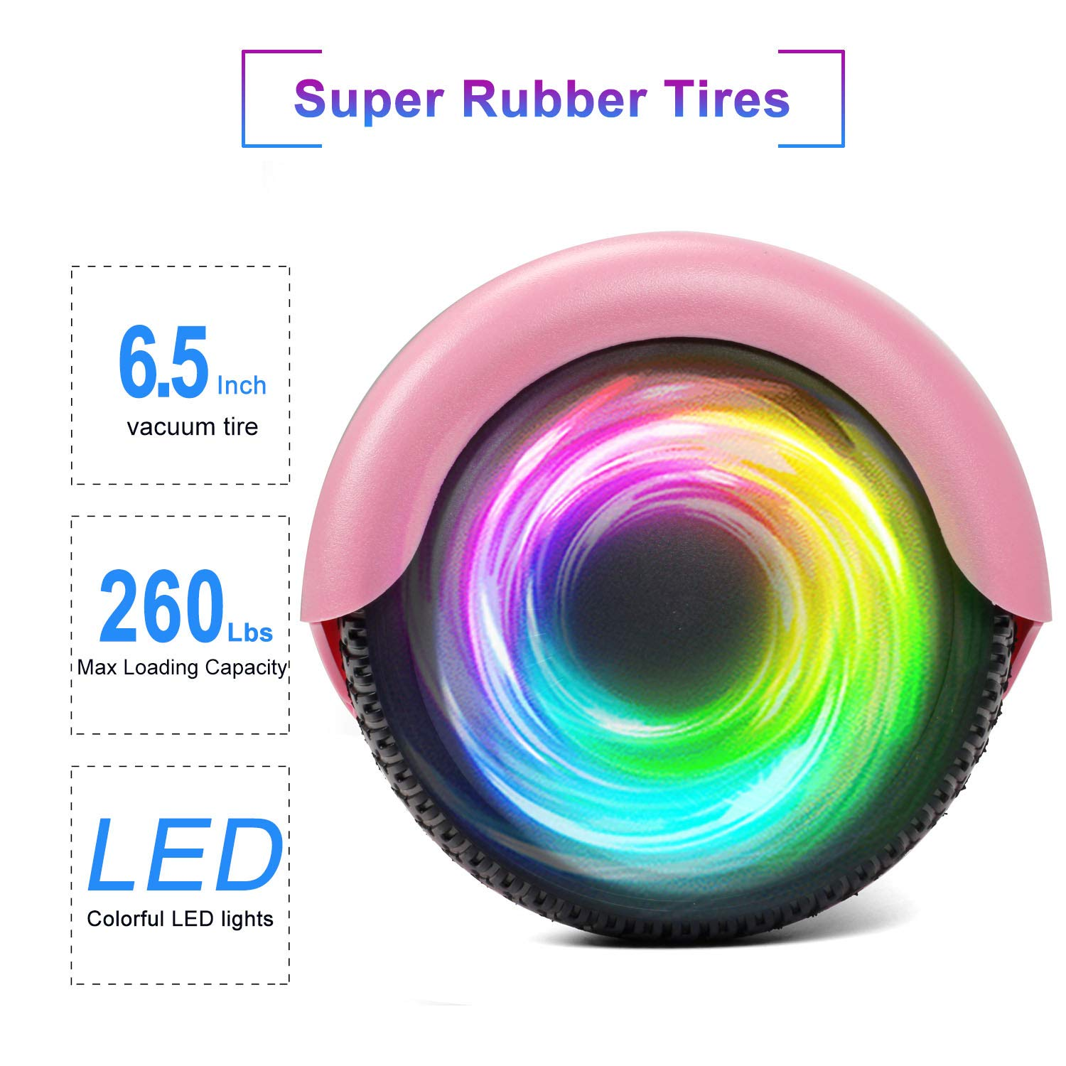 SISIGAD Hoverboard Self Balancing Scooter 6.5'' Two-Wheel Self Balancing Hoverboard with LED Lights Electric Scooter for Adult Kids Gift UL 2272 Certified - Pink by SISIGAD (Image #4)