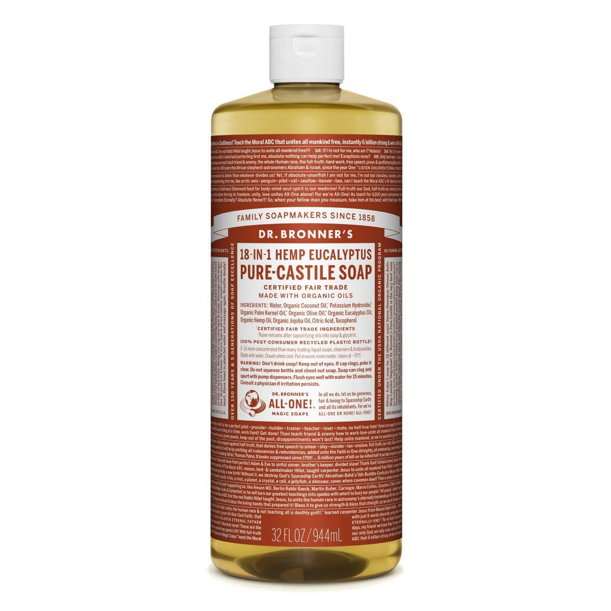 Dr. Bronner's Magic Soap Organic Eucalypt Oil Pure Castile Soap Liquid, 32-Ounce Dr. Bronner' s Magic Soap 761