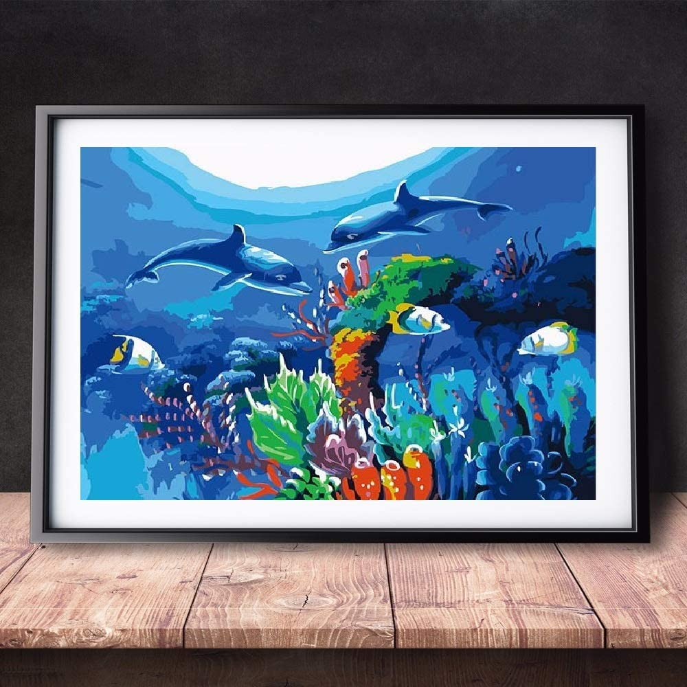 Underwater Sea Life Fish Dolphin Turtle 16X20 Inch HCFFCH DIY Paint by Numbers Kits Oil Painting Colour Talk Home Wall Decor for Adults Beginner Kids Frameless