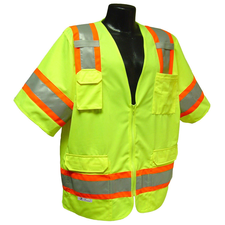 Radians SV63GM Polyester Class 3 Two Tone Surveyor Safety Vest, Medium, Green