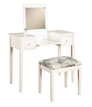 Amazon.com: Linon Home Decor Vanity Set Butterfly Bench, White ...
