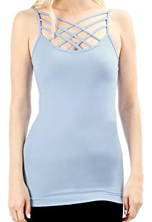 027bce19b6bf5 Born Womens Crisscross Lattice Front Round Neck Seamless Cami Camisole Tops  Multi Pack [