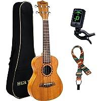 HUAWIND Concert Ukulele 23 inch Natural Mahogany Hawaiian Ukelele 4-String Starter Set with Gig Bag, Tuner, Strap