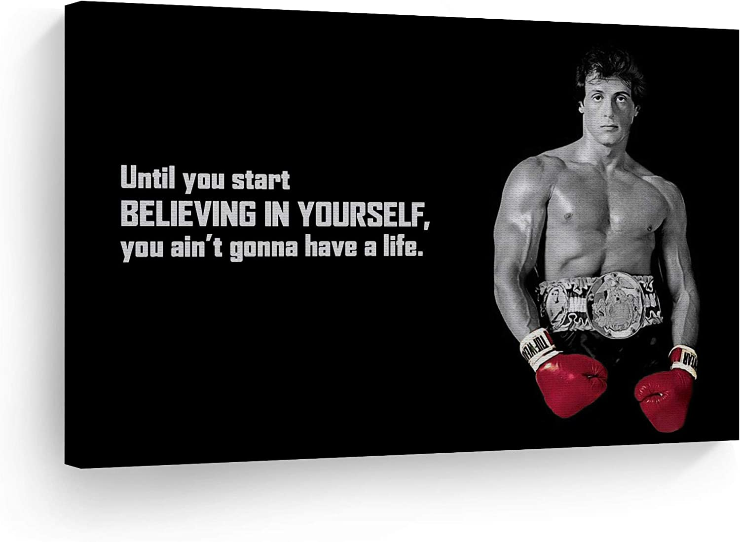 Rocky Balboa Motivational Quote /'Believing in yourself/' Wall Art