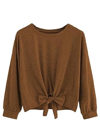6f58ec78a0c7a6 Romwe Women s Cute Knot Front Drop Shoulder Sweatshirt Plain Round Neck  Long Sleeve T-Shirt