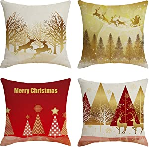 Jasfura Set of 4 Christmas Elk Throw Pillow Covers 18x18 Inch Winter Reindeer Decorative Couch Pillow Cases Farmhouse Cotton Linen Set Square Cushion Covers for Living Room, Sofa, Bed and Car (Deers)