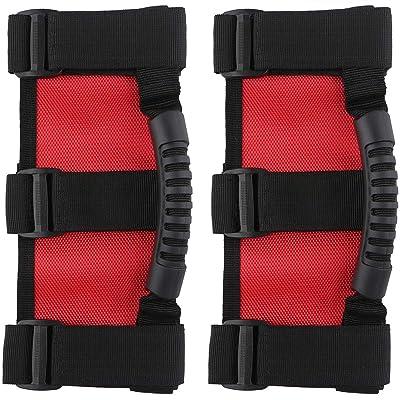 2 pcs Roll Bar Grab Handles Grip Handle for Jeep Wrangler Accessories YJ TJ JK JKU JL JLU Sports Sahara Freedom Rubicon X & Unlimited 1995-2020 (Red/Black (2 pcs)): Automotive