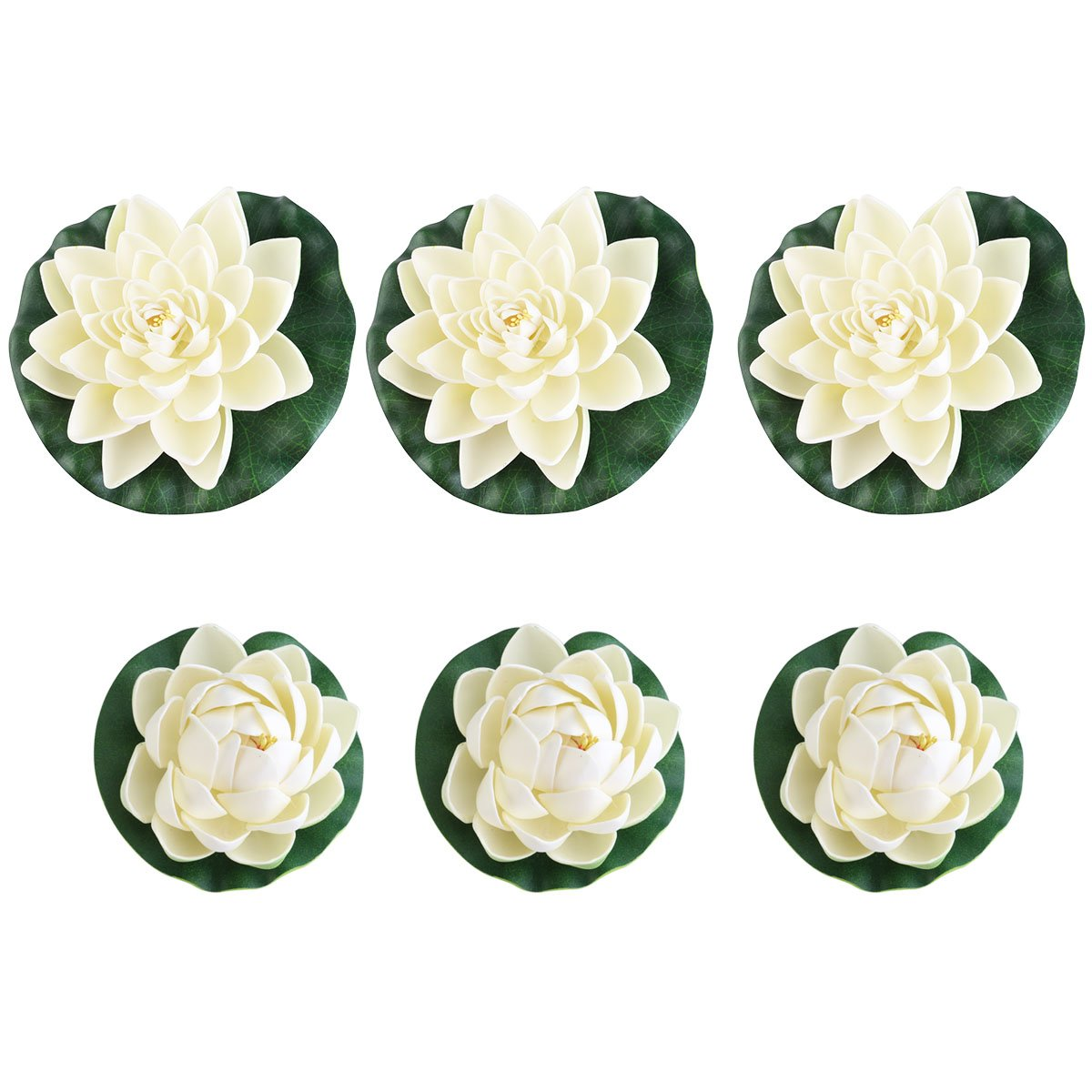 Ueetek 6pcs artificiale schiuma Pond piante Lotus Lilies for home decor bianco