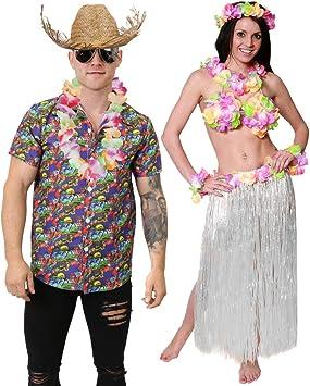 ILOVEFANCYDRESS Conjunto Hawaiano para Parejas con Camisa Tropical, Sombrero DE Paja, Falda Longa DE Paja Blanca, SOSTEN Flora Y Pulseras Florales MULTICOLORIDAS: Amazon.es: Juguetes y juegos