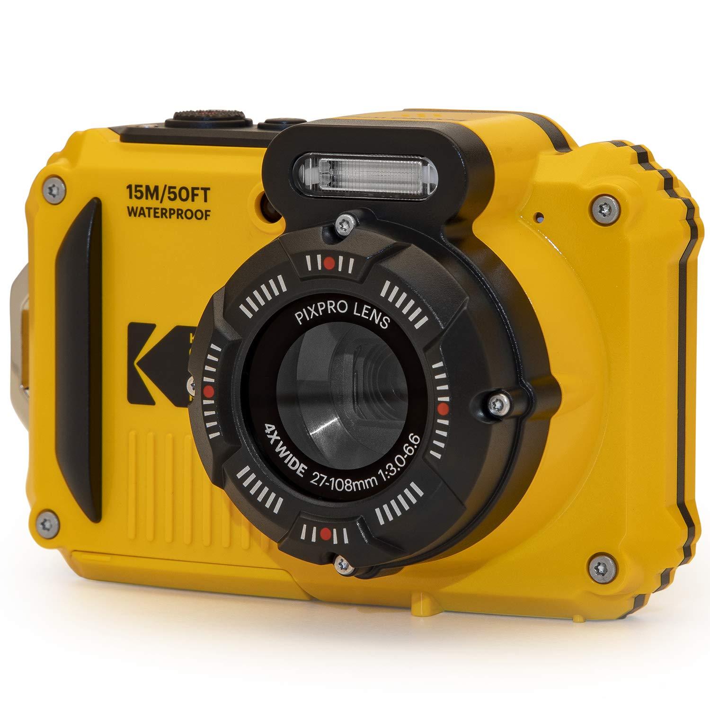 "KODAK PIXPRO WPZ2 Rugged Waterproof Digital Camera 16MP 4X Optical Zoom 2.7"" LCD Full HD Video, Yellow"