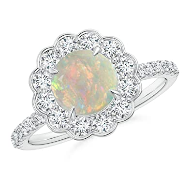 Angara 7mm October Birthstone Opal Engagement Ring in Yellow Gold nlJtO