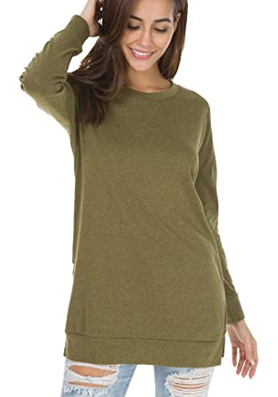 c9a22a9557e Womens Fall O Neck Side Split Loose Casual Pullover Plus T Shirts Army  Green S