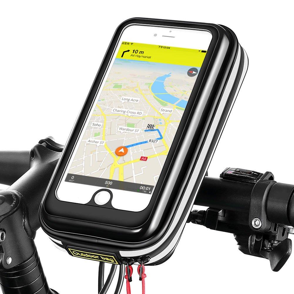 Borsa Bici Zonbar®, Porta Cellulare bici telefono,Accessori bicicletta, Attraverso il coperchio della borsa per bici può sbloccare direttamente l'ID touch Apple, impermeabile e antipolvere, con design striscia riflettente, facile da installare sul telaio a