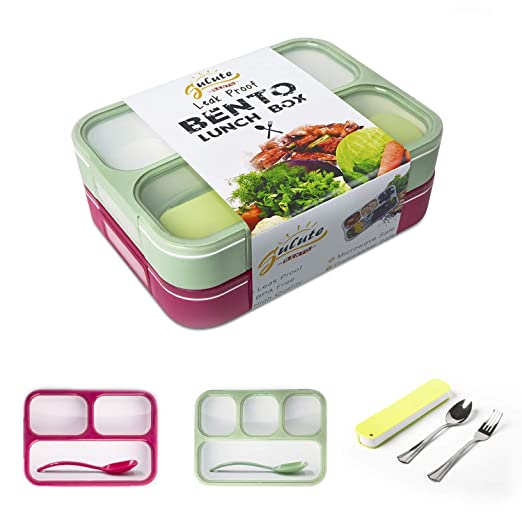 Leakproof Bento Lunch Box Container For Kids and Adult 2 Leakproof Containers with 3 and 4 CompartmentsィC1 Tableware Set(Stainless Steel spoon and fork) BPA Free Microwave and Dishwasher Safe(GreenRed)