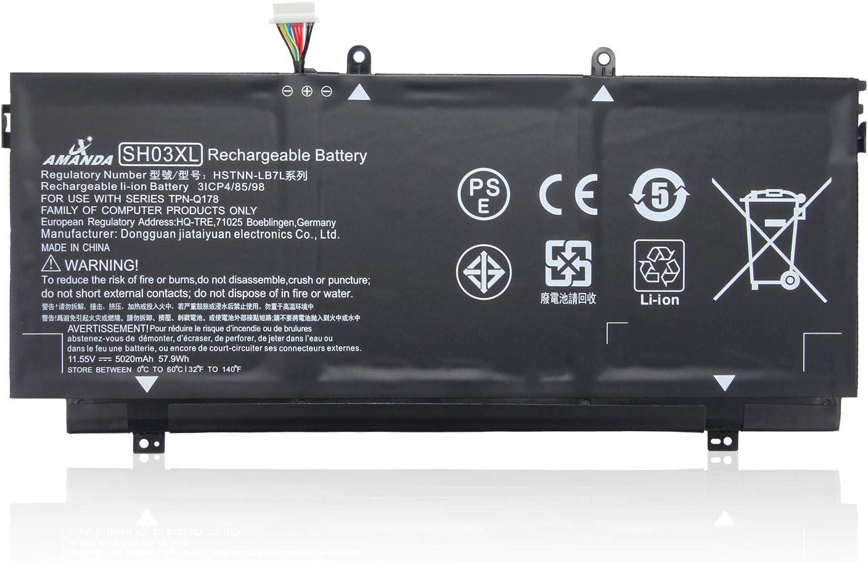 Amanda SH03XL Laptop Battery Compatible with HP Spectre X360 13-AC033DX 13-W000 13-W013DX Series TPN-Q178 HSTNN-LB7L 859026-421 859356-855 (11.55V 57.9Wh 5020mAh) - Connector line 20mm