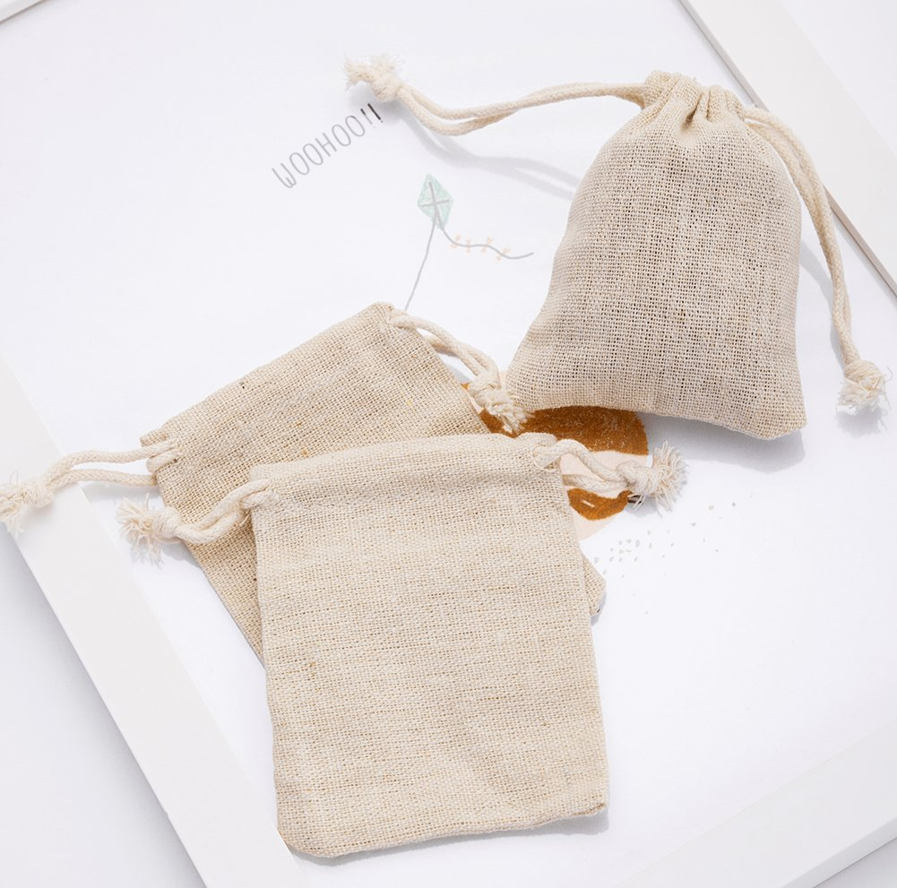 50pcs Small Cotton Double Drawstring Bags Reusable Muslin Cloth Gift Candy Favor Bag Jewelry Pouches for Wedding DIY Craft Soaps Herbs Tea Spice Bean Sachets Christmas, 3x4 inch by handrong (Image #4)