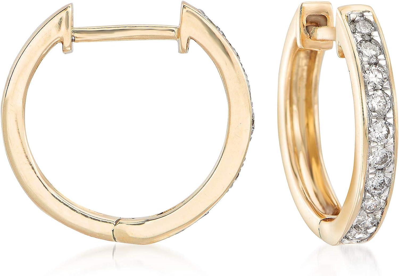 Ross-Simons 0.25 ct. t.w. Diamond Huggie Hoop Earrings in 14kt Yellow Gold For Women