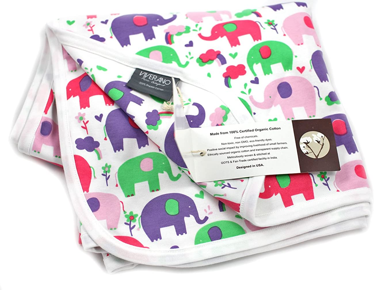 Super Soft Reversible Swaddle Viverano 100/% Organic Cotton Baby Blanket 40x40 Non-Toxic 2 Layer