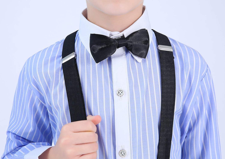 Aivtalk Boys 4 Piece Suit Set with Suspender Shirt Pant Bowtie Formal Dresswear