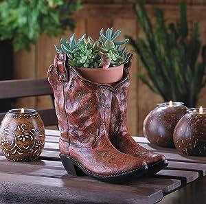 DecorDuke 10015279 Garden Home Corner Pots Cowboy Boot Planter Decorative Stand Ornament Plant Holder Box Classic