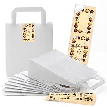 10 bolsas de papel con asa y con base (18 x 8 x 22 cm