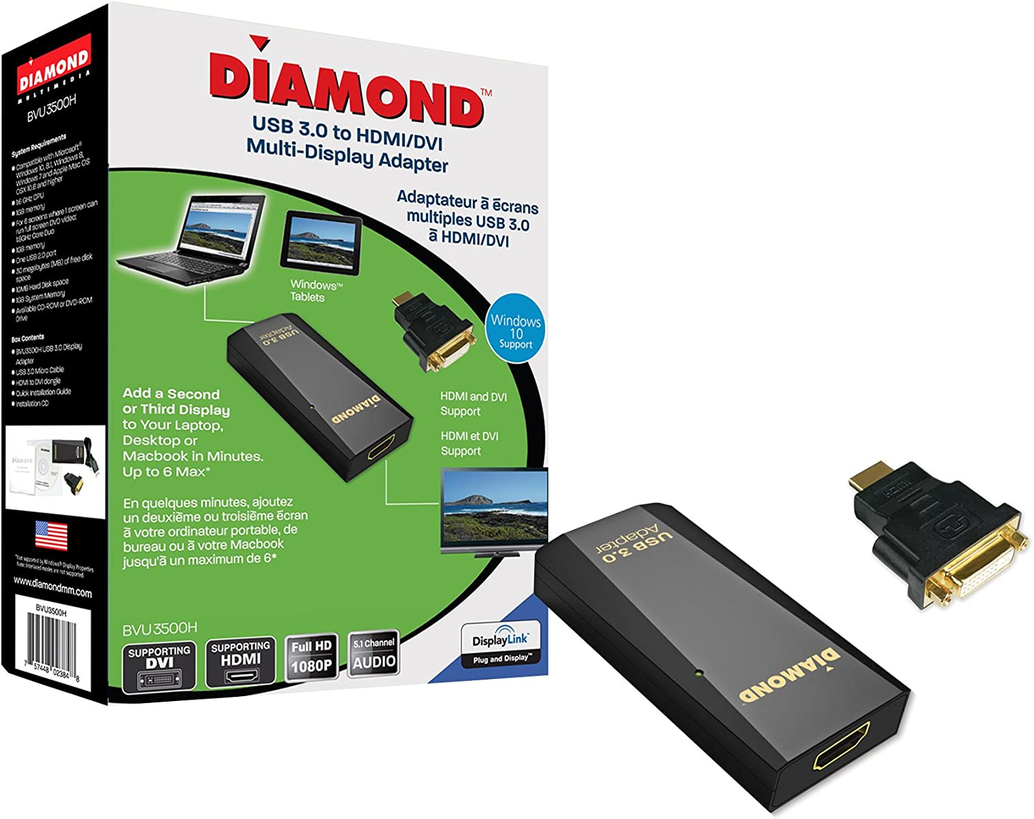 8 7 Diamond Multimedia USB 3.0 to VGA//DVI//HDMI Video Graphics Adapter up to 2048x1152 // 1920x1080 XP 8.1 MAC OS and Android 5.0 and Higher Windows 10