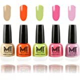 MI Fashion® Trendy Colors Nail Polish Enamel Combo of 5 - Nude Beige, Candy Coral, Lime Green, Doll Pink, Light Lilac - 12ml each