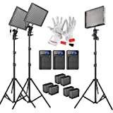 Aputure Amaran AL-528KIT(AL-528S*2 + AL-528W) 528 Led Video Light Panel Studio LED Lighting Kit with Light Stand, Sony NP-F960 Battery Pack and Pergear Clean Kit