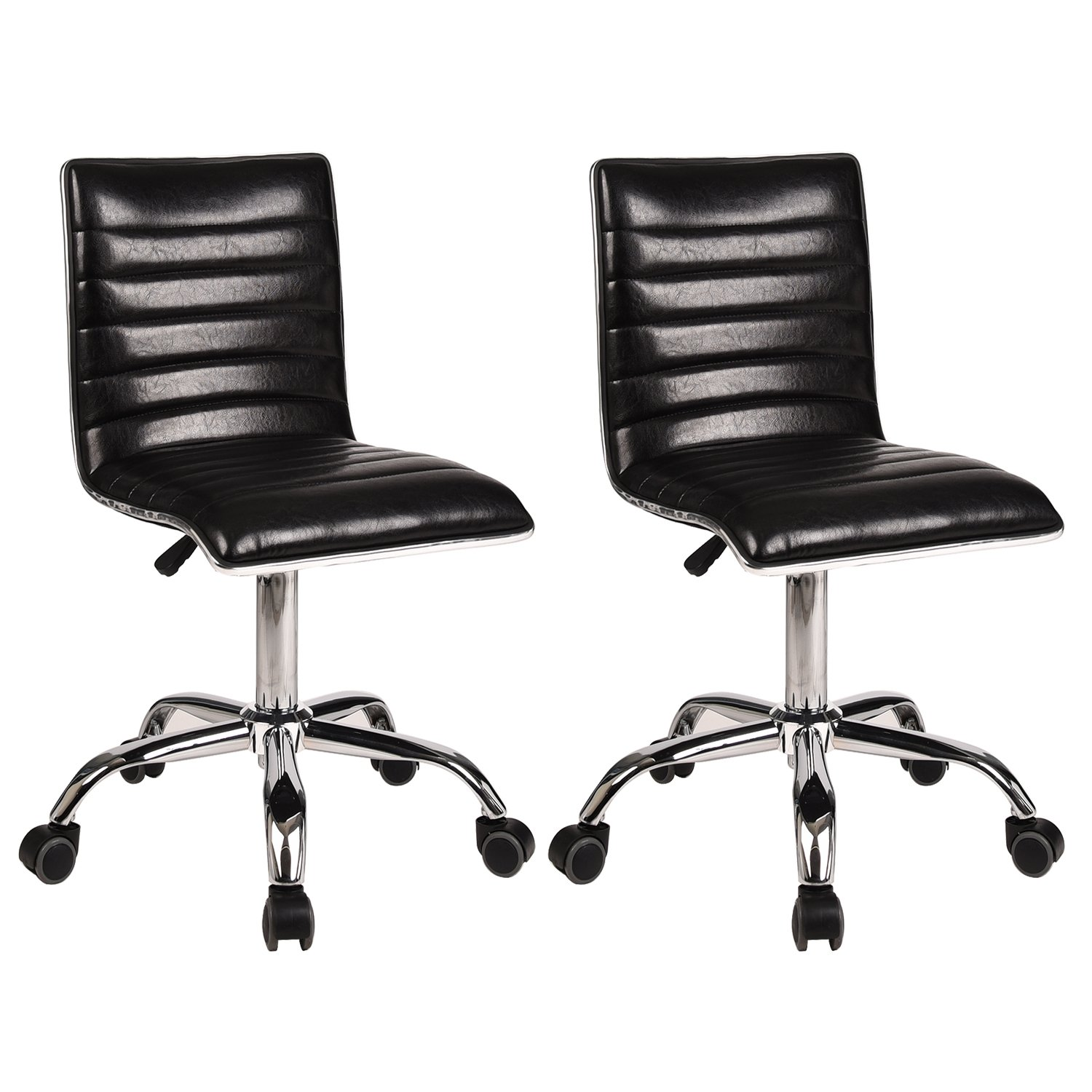 Desk Chair Swivel Home Office Task Chair Set of 2 Mid-Back Support Ribbed Design Height Adjustable Counter Height Armless PU Leather Fabric Airlift Upholstery Computer Desk Chair with Wheels(Black)