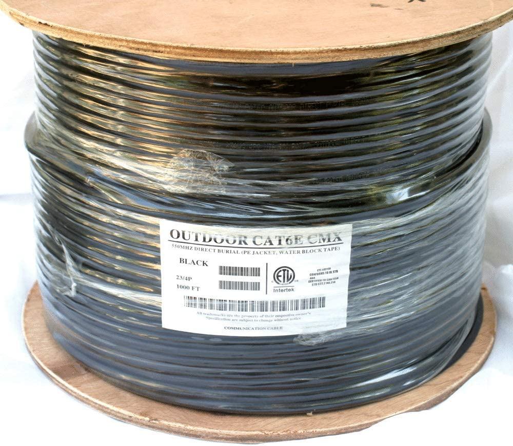 23AWG CAT6e Outdoor Underground Burial Cable Wire Waterproof UV Thick 400FT