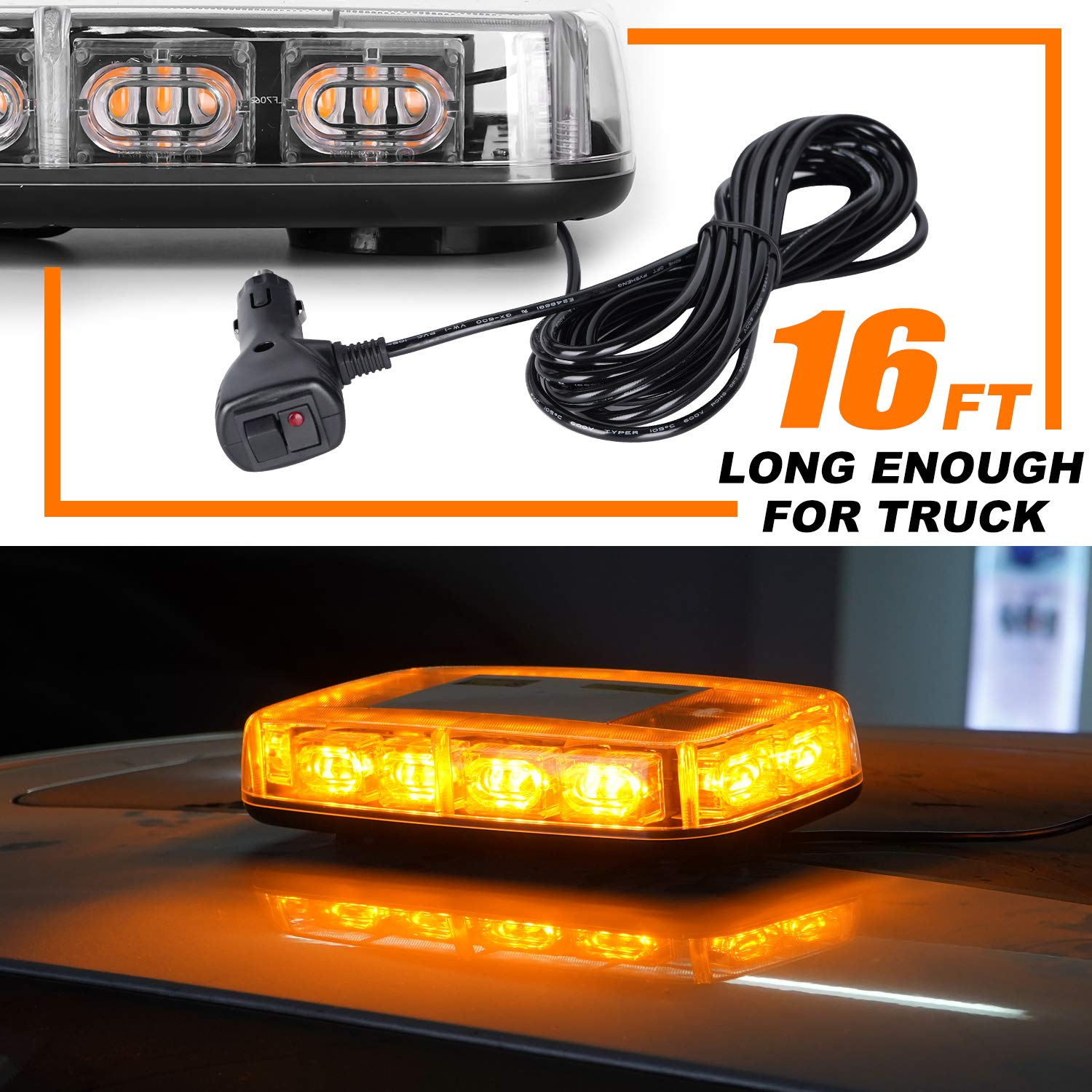 Emergency Hazard Warning Safety Flashing Strobe Light Bar for Truck Car Waterproof and Magnetic Mount 12-24V VKGAT 36 LED Roof Top Strobe Lights Amber