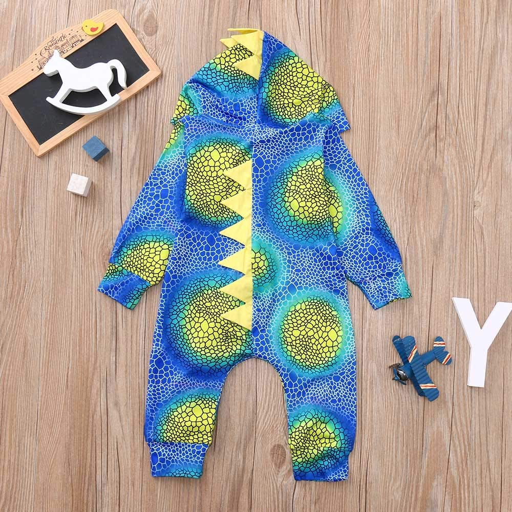 Cealu 6-24M Baby Girls Boys Cartoon Dinosaur Hooded Romper Zipper Gradient Jumpsuit Pajamas Outfits Birthday Gift