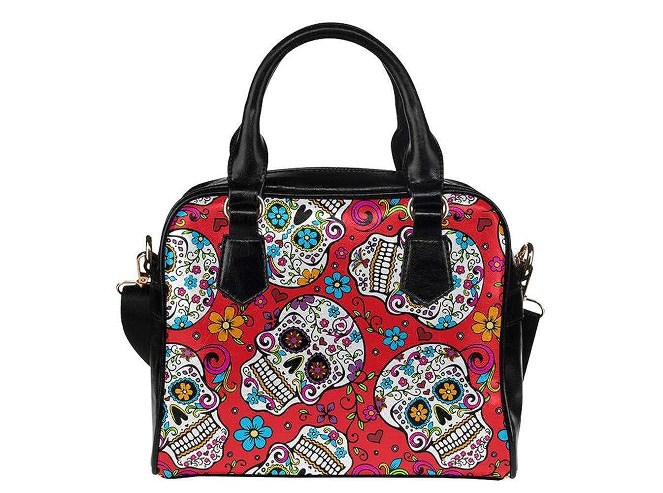 Colorful Sugar Skull Pattern Womens Leather Handbags Totes Top Handle Shoulder Bag Satchel Ladies Purses