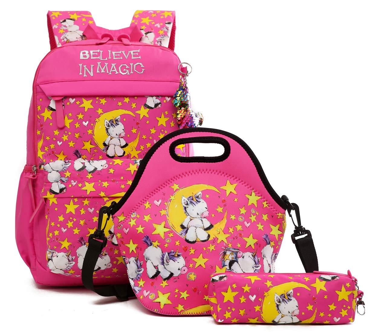 Debbieicy Cute Unicorn Lightweight Princess Backpack Kids School Bookbag with Lunch Bag Pen Bag for Preschool, Kindergarten, Elementary Girls (Rose Set)
