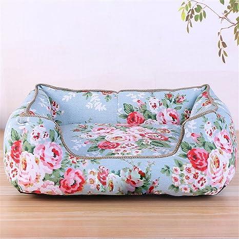 Pet Online Perro sofa cama nido jardín de flores rotas viento confortable cama de mascota,
