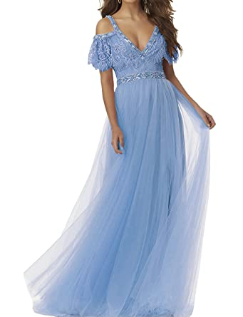 V Neck Prom Dresses Long 2018 Tulle Beaded A Line Evening Gowns With Lace Sleeve at Amazon Womens Clothing store:
