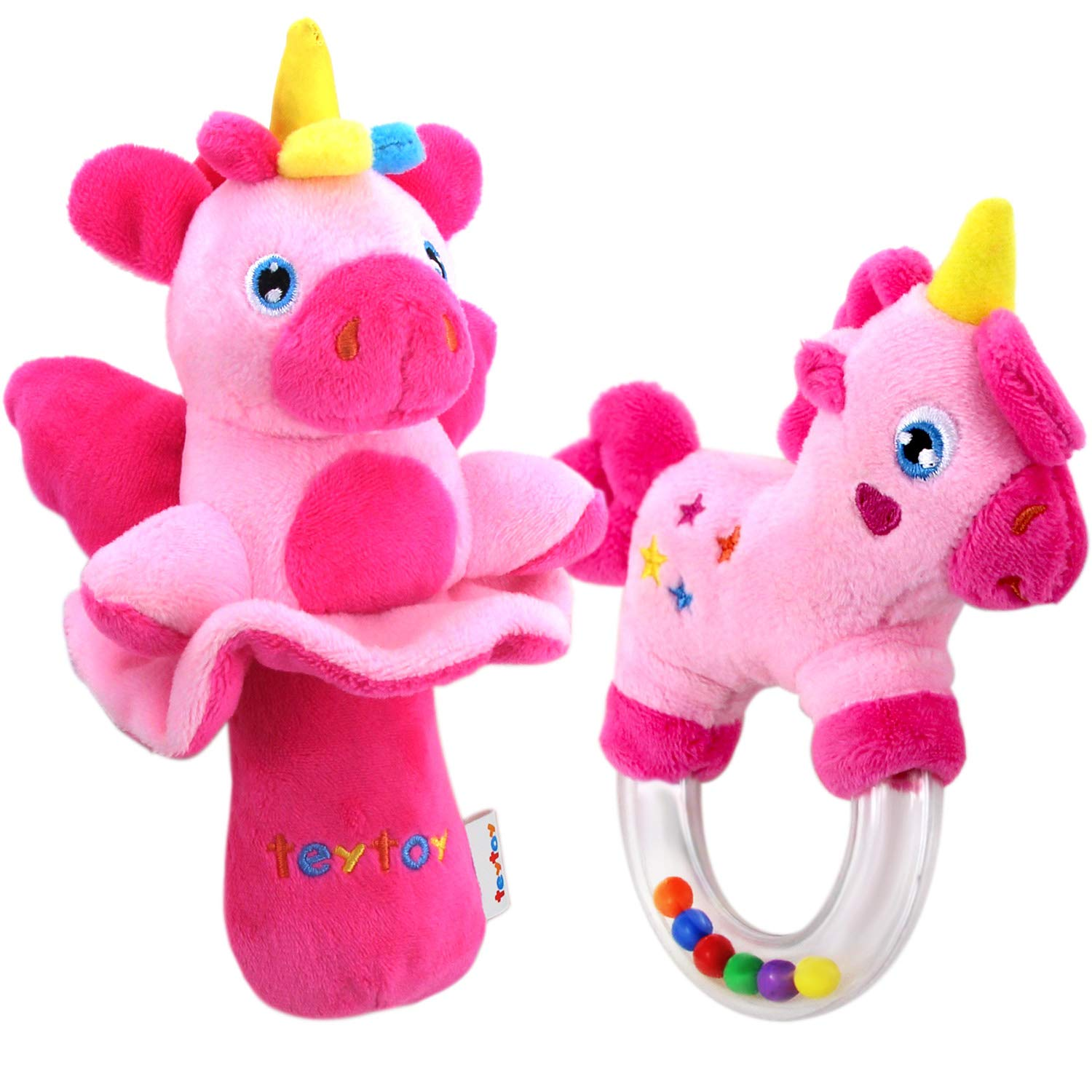 teytoy My First Rattle, 2pcs Soft Baby Rattles Set, Pink Horse and Angel Pig Nontoxic Baby Girl Toys for Infants Stroller Bedtime, Perfect Newborn Baby Shower Present for 0 3 6 12 Month